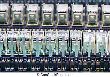 Close up row of Relay actuators - Close up Relay actuators...