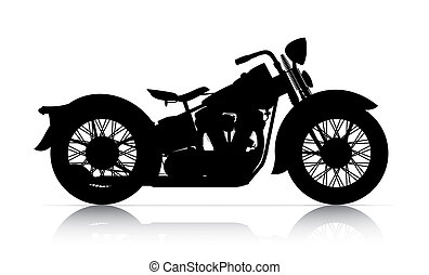 silhouette of classic motorcycle onwhite back ground