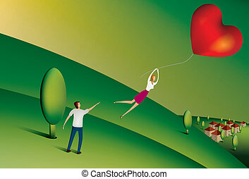 Woman with heart balloon - Illustration of Woman floating...