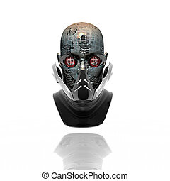 cyborg head, robot