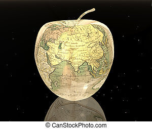 european apple in the night sky with stars