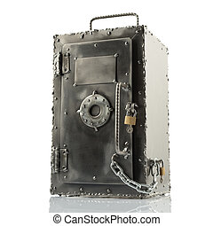 Retro styled safe box with locks - Retro styled brutal safe...