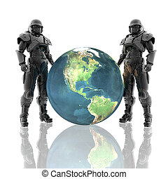 3d soldiers in a gas mask with earth isolated on a white
