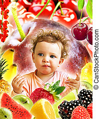 Tasting - Baby with fruits.