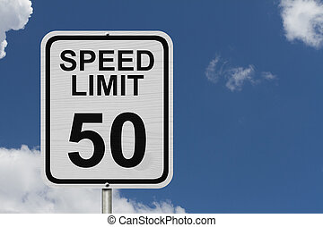 Speed Limit 50 Sign - A white American road sign with words...