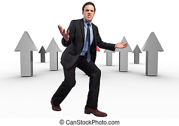 Composite image of businessman posing with arms outstretched...
