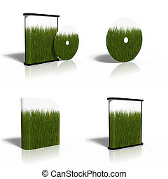 blank CD, DVD, disk box template with green grass