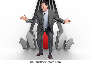 Composite image of businessman standing with arms out -...