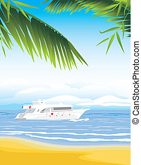 Yacht on the seascape background Vector illustration
