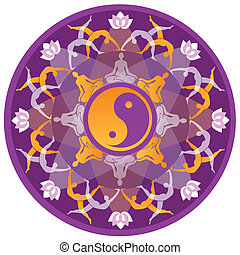 Yoga Mandala - Mandala background with yoga symbols and...