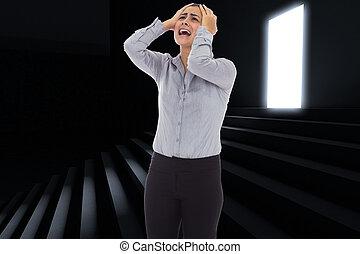 Composite image of desperate businesswoman - Desperate...