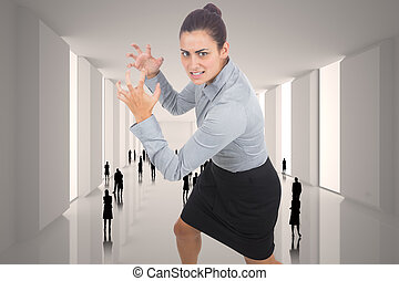 Composite image of furious businesswoman gesturing - Furious...