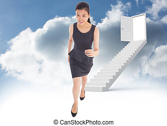 Composite image of businesswoman st - Businesswoman stepping...