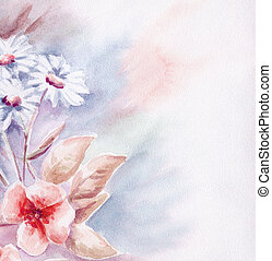 Water colour, abstract flowers