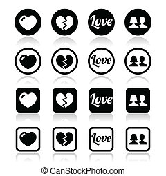 Love, heart, couple icons - Love, relationship vector icons...