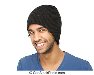 Funny young man smiling with black hat - Close up portrait...