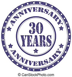 Anniversary 30 Years - Grunge rubber stamp with text...