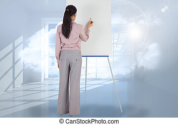 Composite image of businesswoman painting on an easel -...