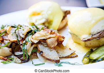 Fried Potatoes and Eggs Benedict