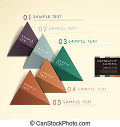 abstract origami pyramid chart infographics - modern vector...