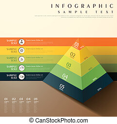 abstract 3d pyramid chart infographics - flat style vector...