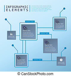 abstract flow chart infographics - flat design vector...