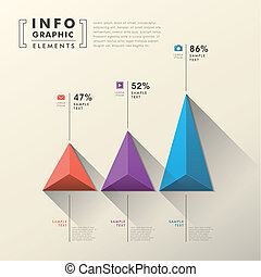 abstract pyramid chart infographics - flat style vector...