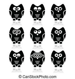 Owl cartoon character vector icons - Decorative black owl...