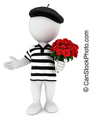 3d white people romantic frenchman with a bunch of roses,...