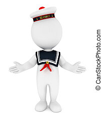 3d white people seaman, isolated white background, 3d image