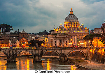 Vatican and river Tiber in Rome - Italy at night . - Angelo...