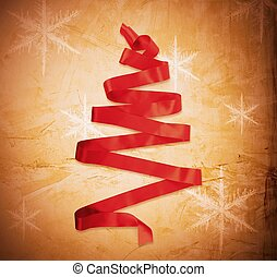 Abstract Christmas tree on golden paper background