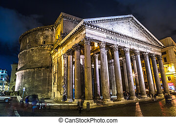 Pantheon at night, Rome, Italy - ROME-DECEMBER 7: The...