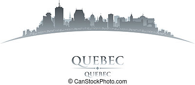 Quebec Canada city skyline silhouette white background -...