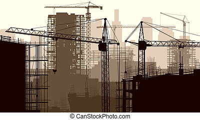 Construction site with buildings. - Horizontal vector...