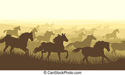 Illustration herd of horses. - Horizontal vector...