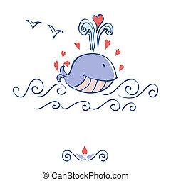 Little illustrated whale with hearts card design