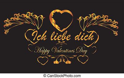 ich liebe dich - Romantic Valentine heart banner love