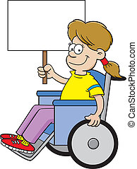 Cartoon girl in a wheelchair holdin - Cartoon illustration...