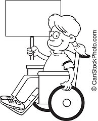 Cartoon girl in a wheelchair holdin - Black and white...