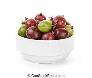 fresh gooseberries from garden, isolated on white background