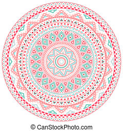 Decorative pink and blue round pattern frame on white...