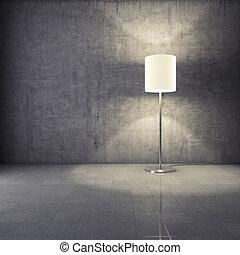 Modern lamp in interior - Modern lamp in grunge interior