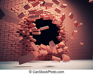 Destruction wall - Destruction of brick wall