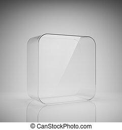Empty glass box for exhibit
