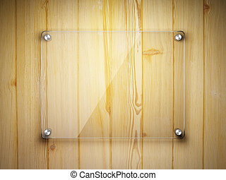 Glass frame on the wooden wall