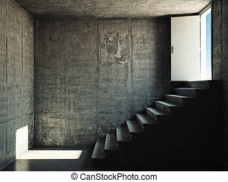 Interior room with concrete walls and stairs leading to the...