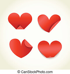 Group of red paper hearts. Happy Valentines Day