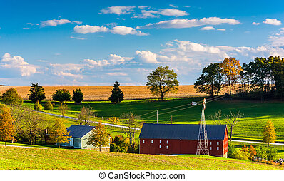 View of a farm in rural York County, Pennsylvania