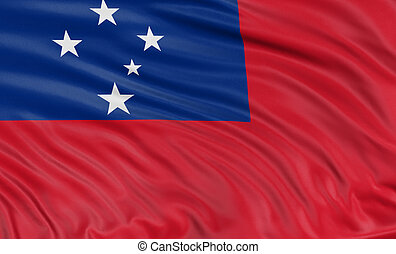 3D flag of Samoa with fabric surface texture. White...